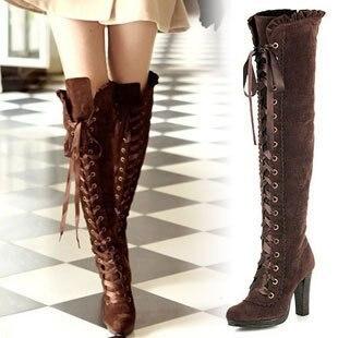 71635e4d Cordones de la plataforma sobre la rodilla botas altas mujer de ...