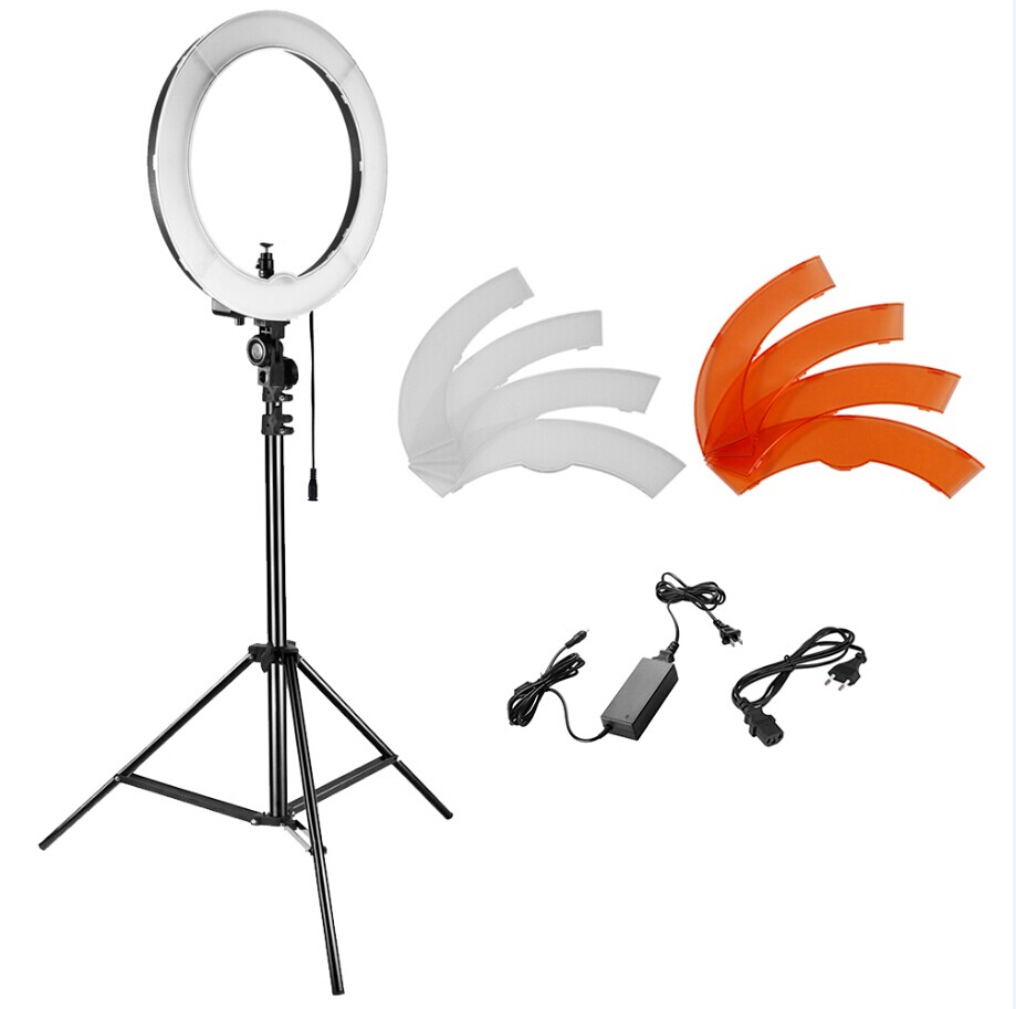 Neewer Camera Photo Studio YouTube Video Lighting Kit: 18''/48cm 55W Dimmable LED SMD Ring Light with Color Filter+Light Stand studio 19 48cm 55w 5500k dimmable led ring light lamp with color filter for video photo makeup beauty selfie lighting ru
