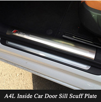 Stainless Steel Car Inner Door Sill Scuff Plate Trim Car Guards Sills For Audi A4 2009