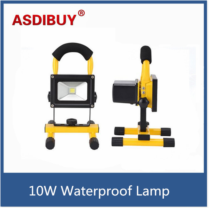 10W waterproof Floodlight Rechargeable LED Flood Light Lamp portable Outdoor Spotlight Camping Work Light with DC Car Charger new 6 18650 battery new powerful lights rechargeable led floodlight 100leds 2400lumen 100w flood lamp portable light