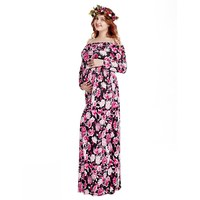 VOGUEON Women Maternity Dresses for Photo Shoot Floral Long Sleeve Off Shoulder Pregnant Dress Baby Shower Party Maxi Gown
