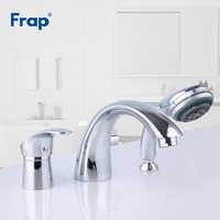 FRAP Banheira Torneiras cromo torneira da banheira de três-buraco separação divisão banheira torneira quente e fria misturador de água com chuveiro de mão