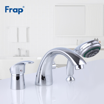 FRAP Bathtub Faucets chrome bathtub faucet three-hole separation split bath tub faucet hot and cold water mixer with hand shower american black three hole retro basin faucet european style washbasin bathroom hot and cold split bathtub faucet lu41316
