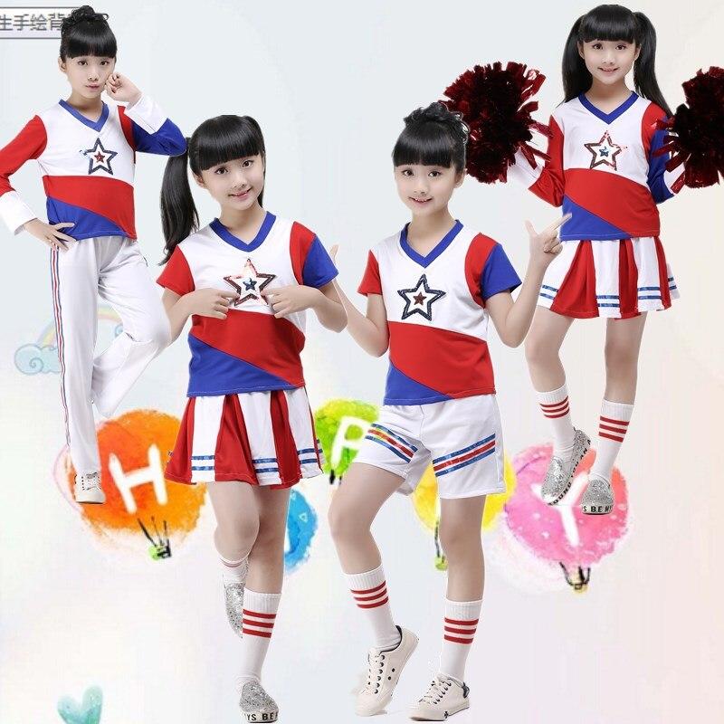 Children Cheerleader Uniforms Jazz Dance Cheerleader Costumes Boys Girls Hip-hop Modern Dance Performances Children Stagewear