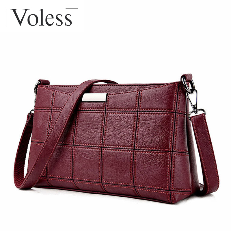 VOLESS Brand Plaid Woman Bag PU Leather CrossBody Bag Women Messenger Bags Female Handbag Fashion Zipper Crossbody Bags 2018 New new arrival messenger bags fashion rabbit fair for women casual handbag bag solid crossbody woman bags free shipping m9070
