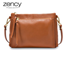 Zency Casual Women Messenger Bag Real Genuine Leather Brown Handbag Fashion Lady Shoulder Crossbody Purse Black Handbag Flap-in Shoulder Bags from Luggage & Bags on AliExpress