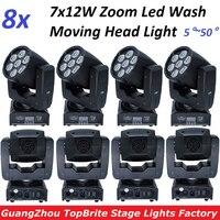 8xLot Zoom LED Moving Head Light Mini Wash 7x12W RGBW Quad LED Effect Stage Lighting 5~50 degree 16 DMX Channels Factory Price