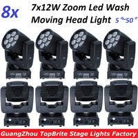 8xLot Zoom LED Moving Head Light Mini Wash 7x12W RGBW Quad LED Effect Stage Lighting 5~50 degree 16 DMX Channels Factory Price