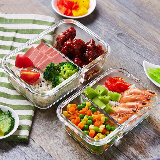 Glass Lunch Box with 2 Divided Compartments