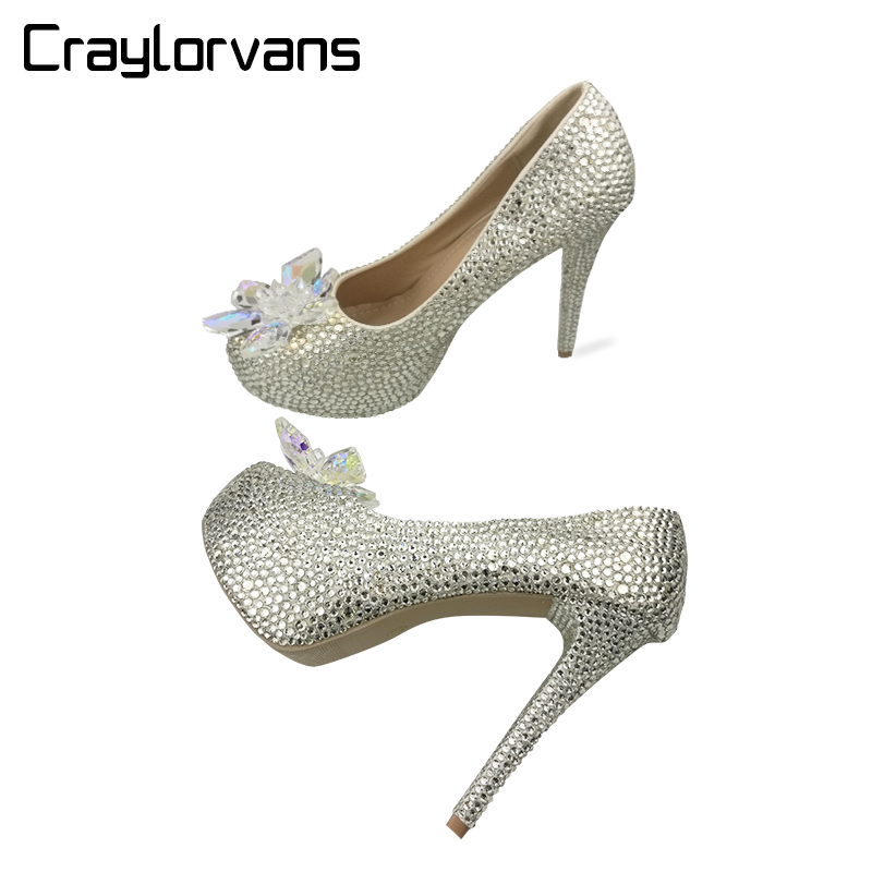 Craylorvans 2018 Rhinestone High Heels Cinderella Shoes Women Pumps Platform Round toe Woman Crystal Wedding Shoes cinderella high heels crystal wedding shoes 14cm thin heel rhinestone bridal shoes round toe formal occasion prom shoes