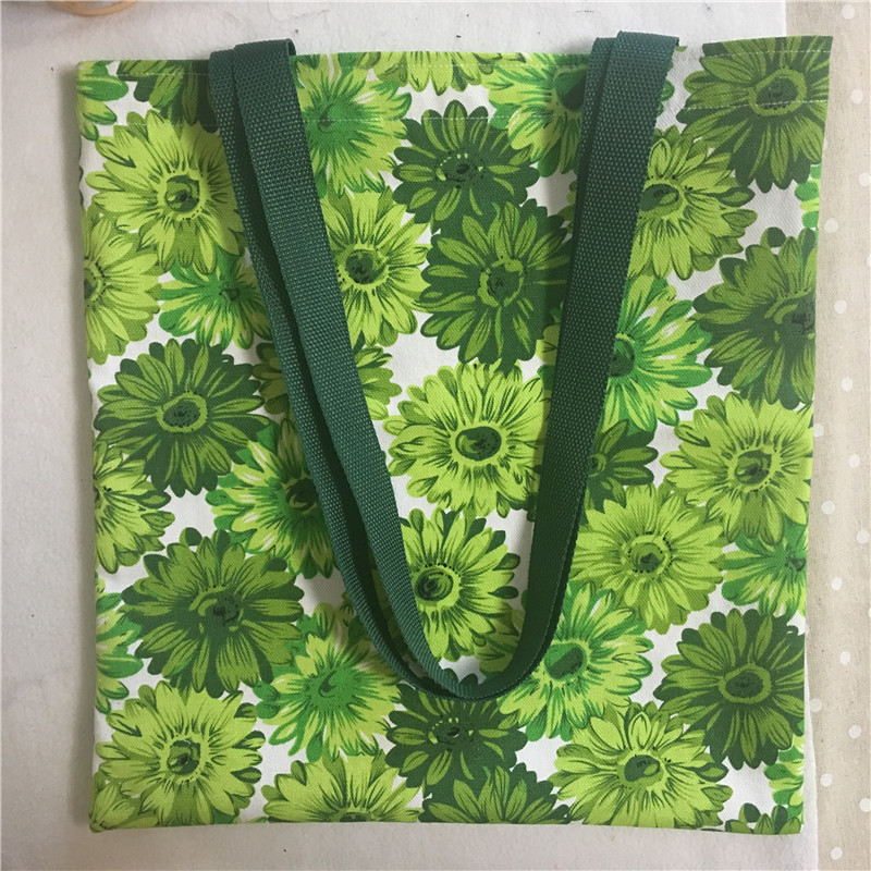 Cotton Canvas Eco Shopping Tote Shoulder Bag Print Green Sunflower Dark Blue Strap 8120B