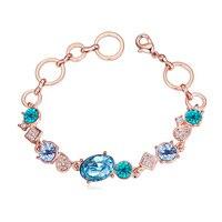 Hot Sale 5 Color Bracelets 18K Gold Swarovski Elements Crystal Women Brazaletes Pulseras Summer Style Jewelry