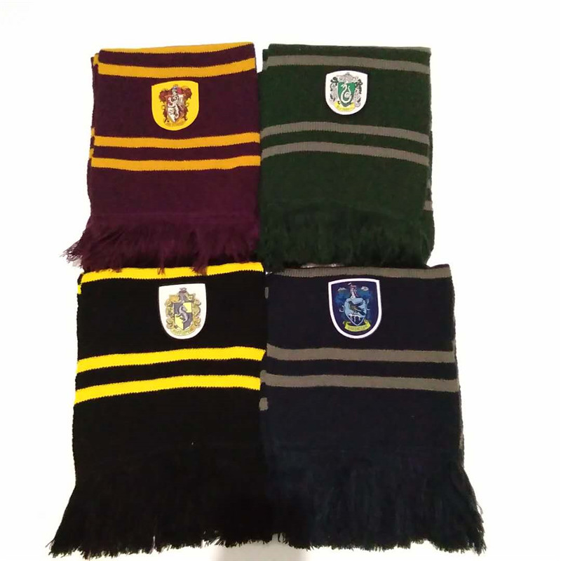 Wholesale 10 PCS Potter Scarf Cosplay Costume Gryffindor Slytherin Ravenclaw Hufflepuff Cotton Scarf  Free Shipping
