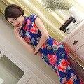 Традиционные Китайские Восточные Платья Длинные Cheongsam Свадебное Платье Шелковый Qipao Халат Chinoise Vintage Платье Вечернее Платье Женщины