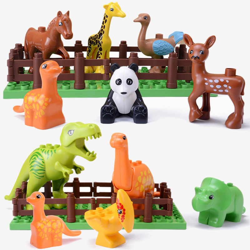 كتل الحيوانات متوافق Duplos كتل بناء كبيرة للأطفال الطوب مع قاعدة