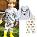 Kids Cartoon fox short/long Long sleeved T-shirt Tops+Geometric Pants 2pcs Set Baby Casual pajamas Outfits Sleepwear kids E1379