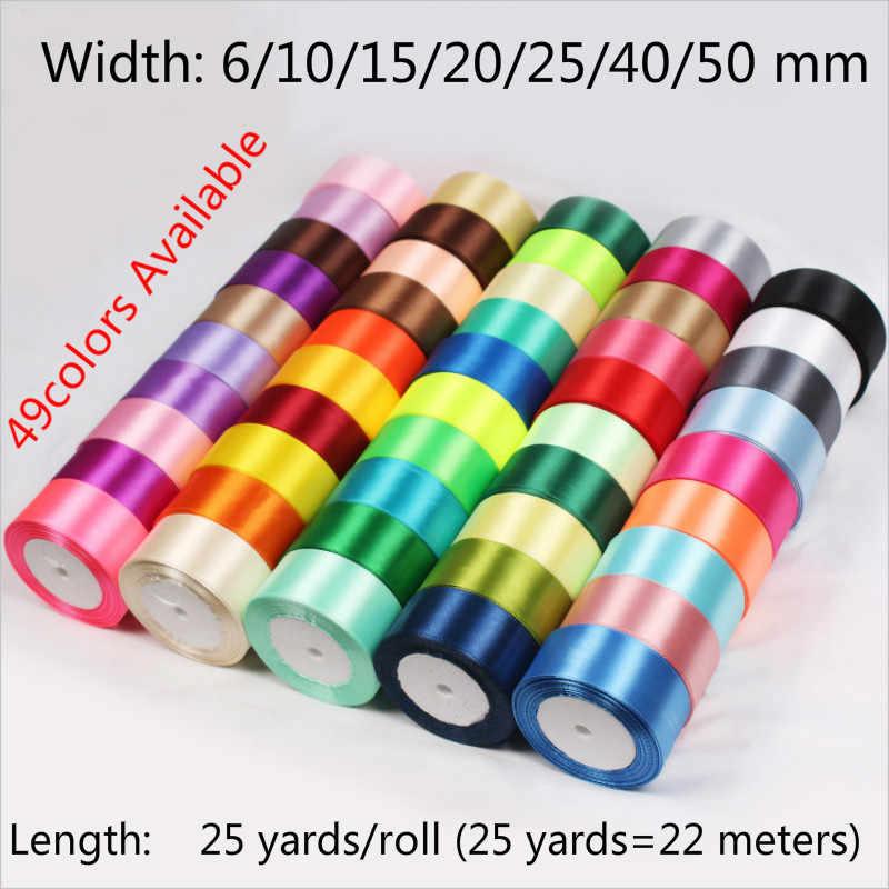 25 100yards/Roll 6mm 10mm 15mm 20mm 25mm 40mm 50mm De Cetim De Seda fitas de artes ofícios de costura fita handmade artesanato materiais de envoltório do presente