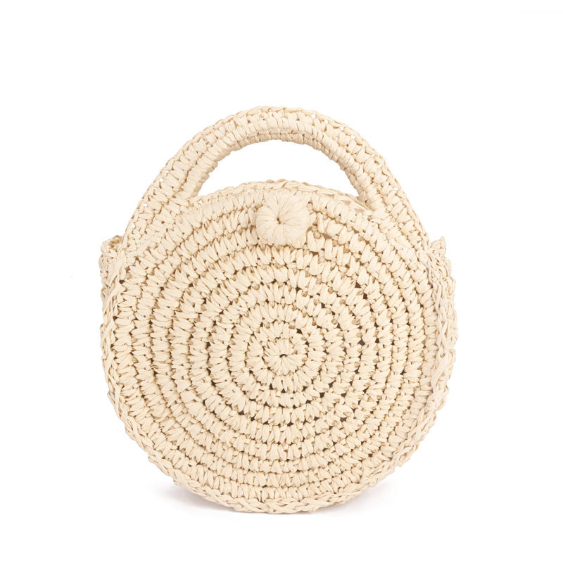 Fashion Round Paper rope Beach Bag Summer mini Vintage Handmade Crossbody Leather Bag Girls Circle Rattan bag Small Bohemian S