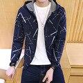 2016 Mens Autumn Winter Streetwear zipper hoodies casual Geometric sweatshirt 4 Colors good quality