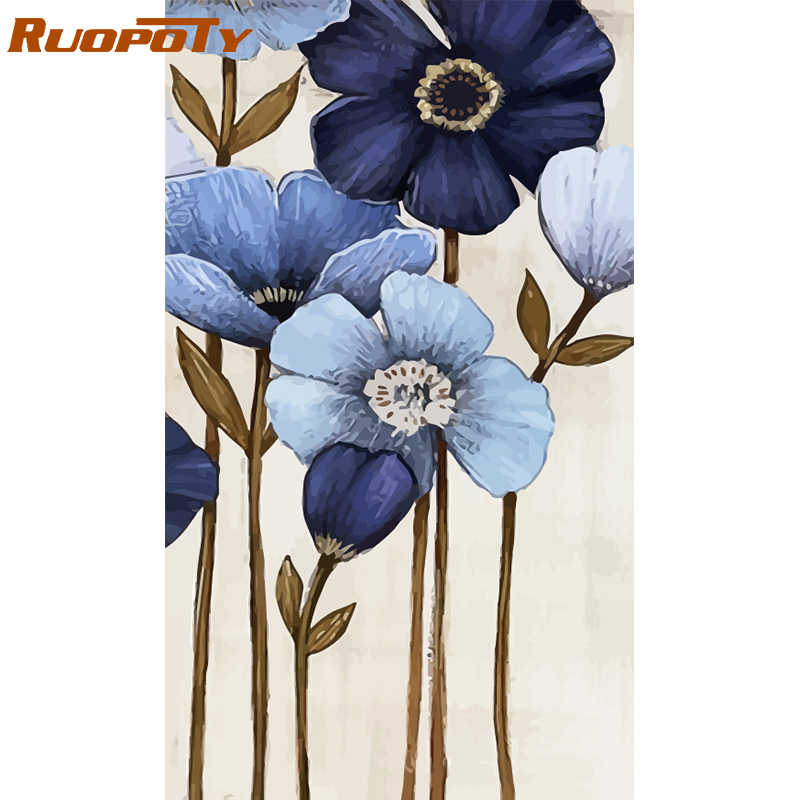 RUOPOTY frame flowers diy painting by numbers animals home wall art picture modern acrylic paint by numbers for unique giftift