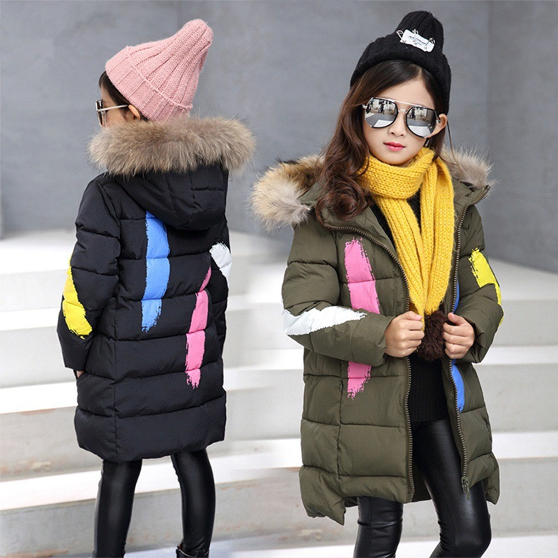 2017 Brand Girls Winter Warm Print Jacket Kid Hooded Coat Girls Winter Thick Coat Kid School Keep Warm Christmas Outerwear 2017 new baby boys and girls winter warm long coat kid hooded jacket kid fashion cute cartoon thick down solid color winter coat