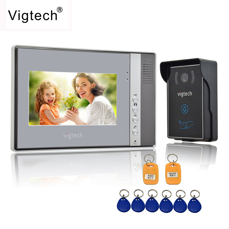 Vigtech Home 7`` LCD Video Door Phone Intercom System Kit 700TVL RFID Waterproof IR Night Vision Camera Free Shipping