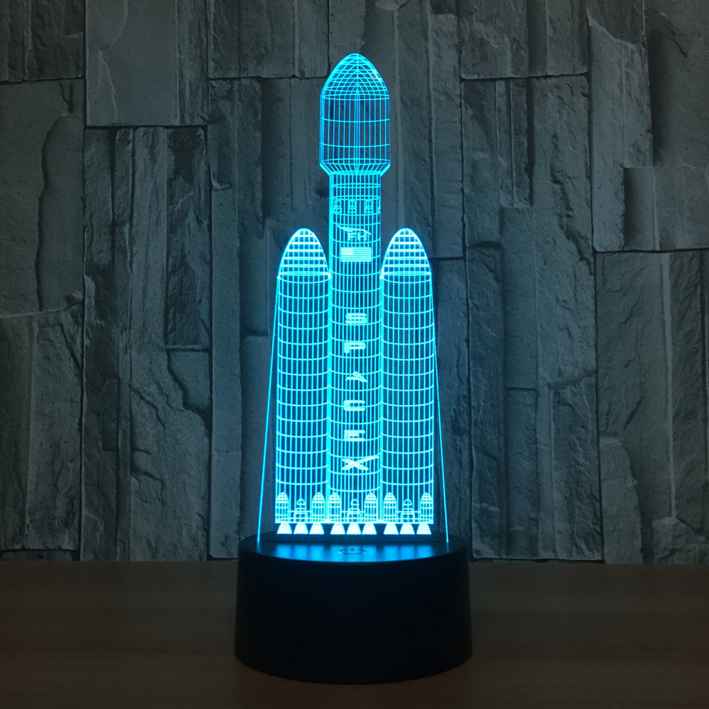Space Shuttle 3D Night Light LED Remote Touch Manned Spacecraft Table Lamp 3D Lamp 7 Color Changing USB Indoor Lamp cute cat 3d led lamp 7 color changing 3d night light remote touch switch usb desk table lamp for kids toy gift