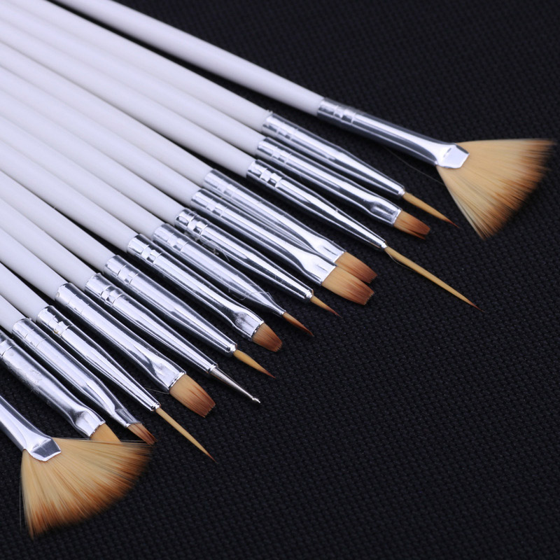 15pcs Long Tail Brush Pen Plastic Handle Pull Hook Line Pen Nail Artists Set Short Miniature Detail Soft Acrylic Oil Art Escolar(China)