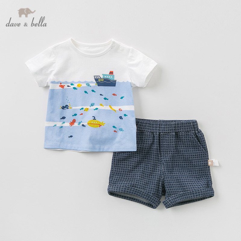 DB10761 デイブベラ夏の男の赤ちゃんファッション衣類セットカジュアル半袖スーツ子供海プリントの服  グループ上の ママ & キッズ からの 服セット の中 1