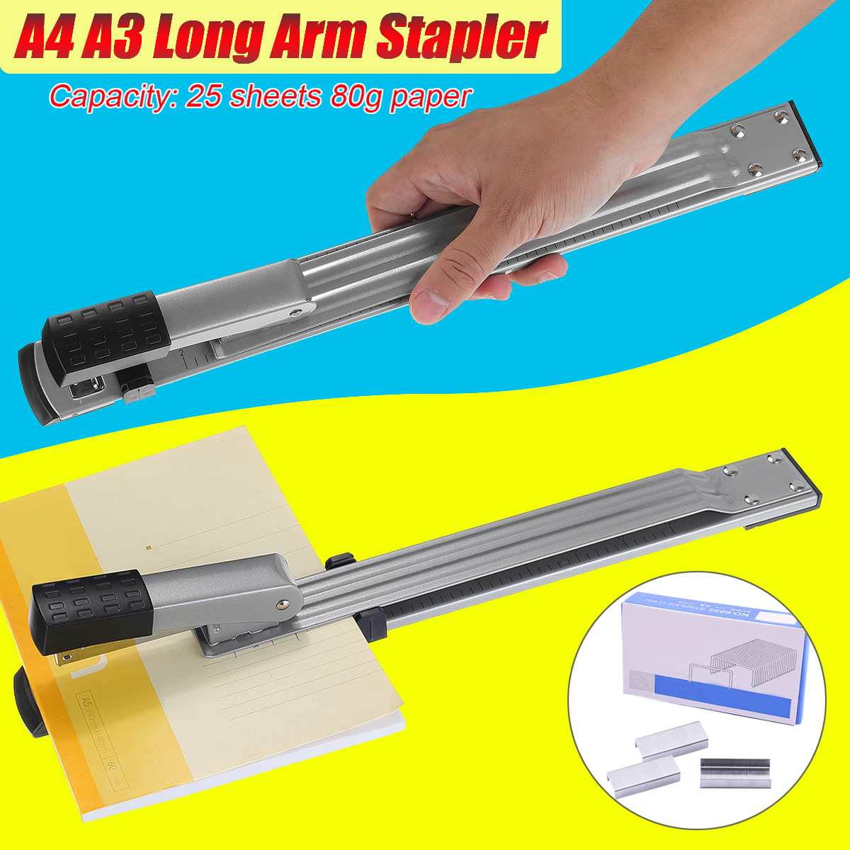 Steel Long Arm Stapler Metal Special A4 A3 Sewing Machine Staple Lengthening Stapler Paper Stapling Office Stapler Bookbinding