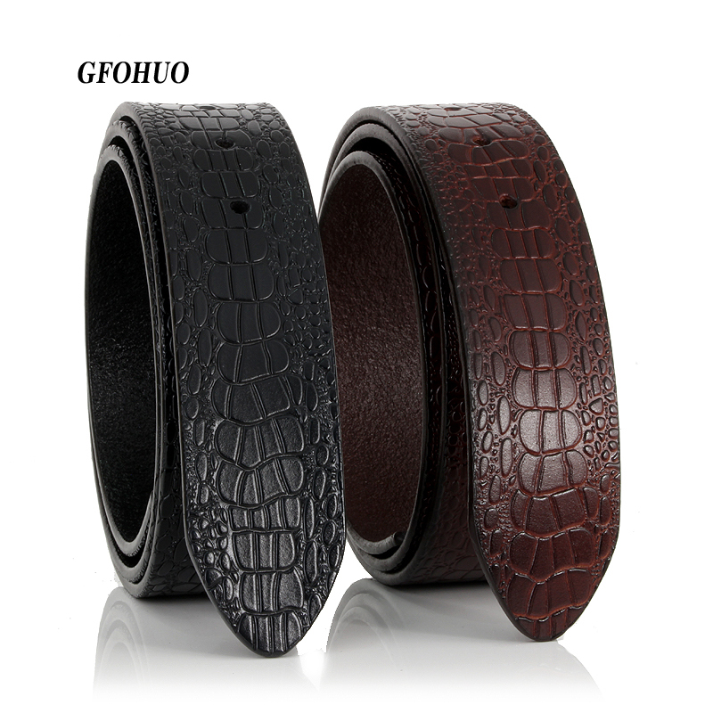 GFOHUO Smooth Buckle Suitable Men No Buckle Male Genuine Leather Crocodile Striped Strap Luxury Belt Without Buckle Wide 3.8cm