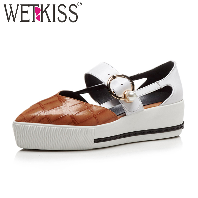 WETKISS Fashion Casual Women Platform Sandals Pearl Pointed Toe Print Genuine Leather Footwear 2018 New High Heels Female Shoes wetkiss new arrival genuine leather pointed toe mules women shoes leisure flats pigskin liner cozy female footwear 2018
