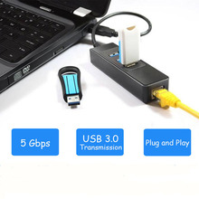 High speed 3 Ports USB 3.0 Hub 10/100/1000 Mbps To RJ45 Gigabit Ethernet LAN Wired Network Adapter Converter For Windows Mac