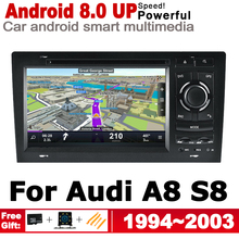 HD IPS Screen DSP Stereo Android 8.0 up Car DVD GPS Navi Map For Audi A8 S8 4D 1994~2003 MMI Multimedia Player Radio WiFi system все цены
