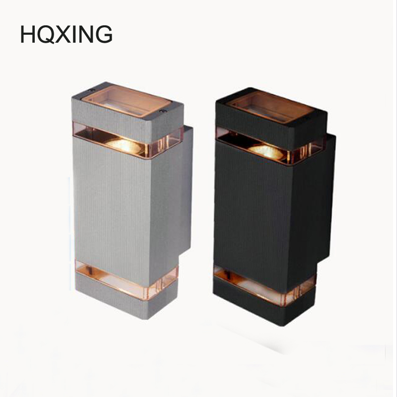 [HQXING] outdoor wall lamp sconces porch light 8w modern led wall lamp light exterior waterproof up and down side AC85-265V modern outdoor lighting led waterproof wall lamp patio lamp ip65 outdoor led lamp up down light outdoor wall light porch lights