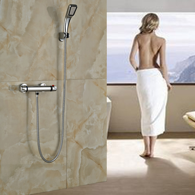 Luxury Double Handle Thermostatic Shower Mixers Handheld Bathroom Shower Faucet Chrome Finish wall mount thermostatic shower faucet mixers chrome dual handle bathroom hand held bath shower taps