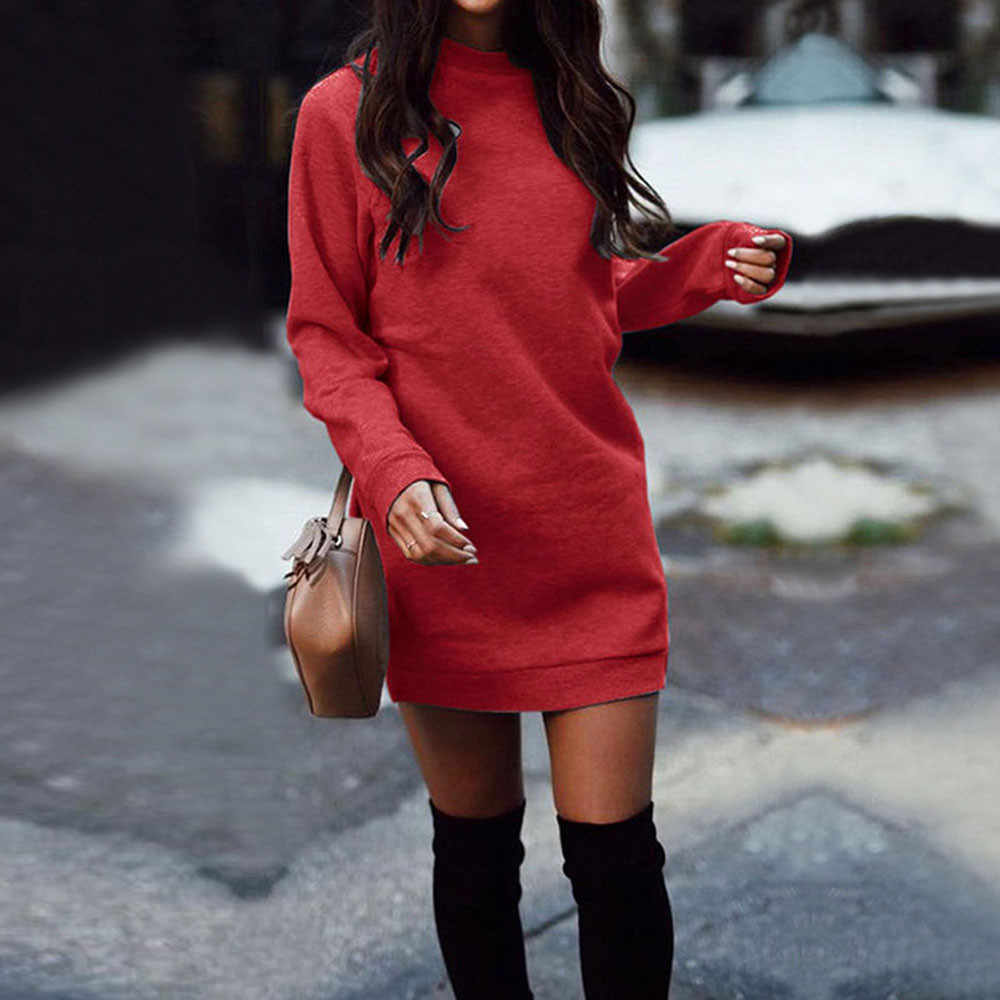 Новые модные женские туфли зимняя теплая толстовка платье с круглым вырезом, утепленная одежда с длинными рукавами вечерние мини платье Вечерние однотонные обтягивающее платье