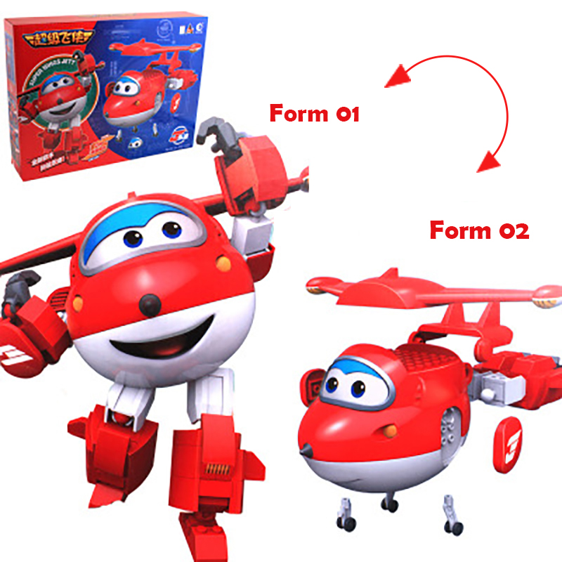 2016 New Hot Super Wings Jett Assembling Blocks Toys 2 Forms Plane Robot Action Figures Kid Gift Educational Toy new arrival super wings plane base assembly building blocks educational diy models toys birthday christmas gift for kids