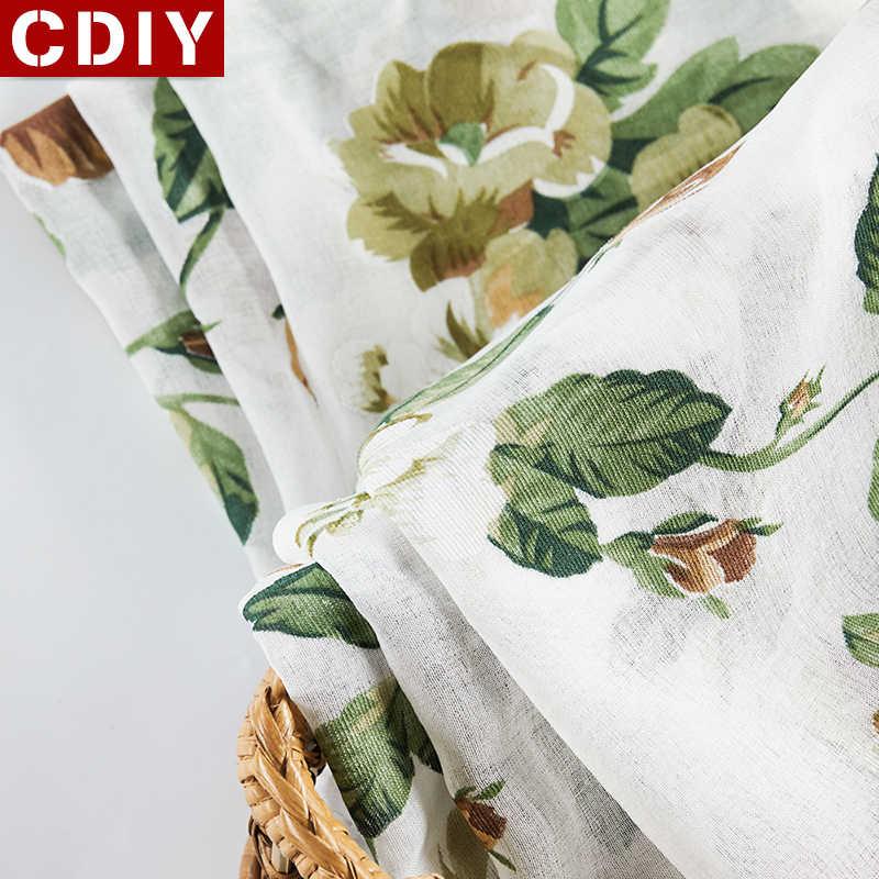 CDIY ดอกไม้สั้นสำหรับห้องครัว Voile ผ้าม่านสำหรับห้องนั่งเล่นห้องนอนผ้าม่านหน้าต่างผ้าม่านประตู