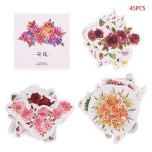 45Pcs/box Flowers Decorative DIY Diary Stickers Kawaii Planner Scrapbooking Sticky Stationery School Supplies