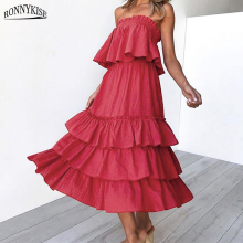 RONNYKISE Two Pieces Sets Summer Fashion Ruffles Sexy Tops and Long Skirts Casual Women Clothes