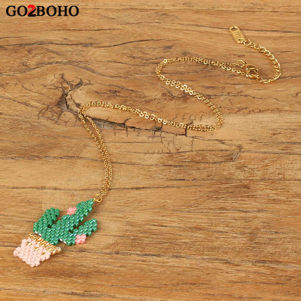 Go2boho Dropshipping Cactus Pendant Necklace Green MIYUKI Seed Bead Cactus Necklaces Handmade Stainless Steel Chain Jewelry Gift