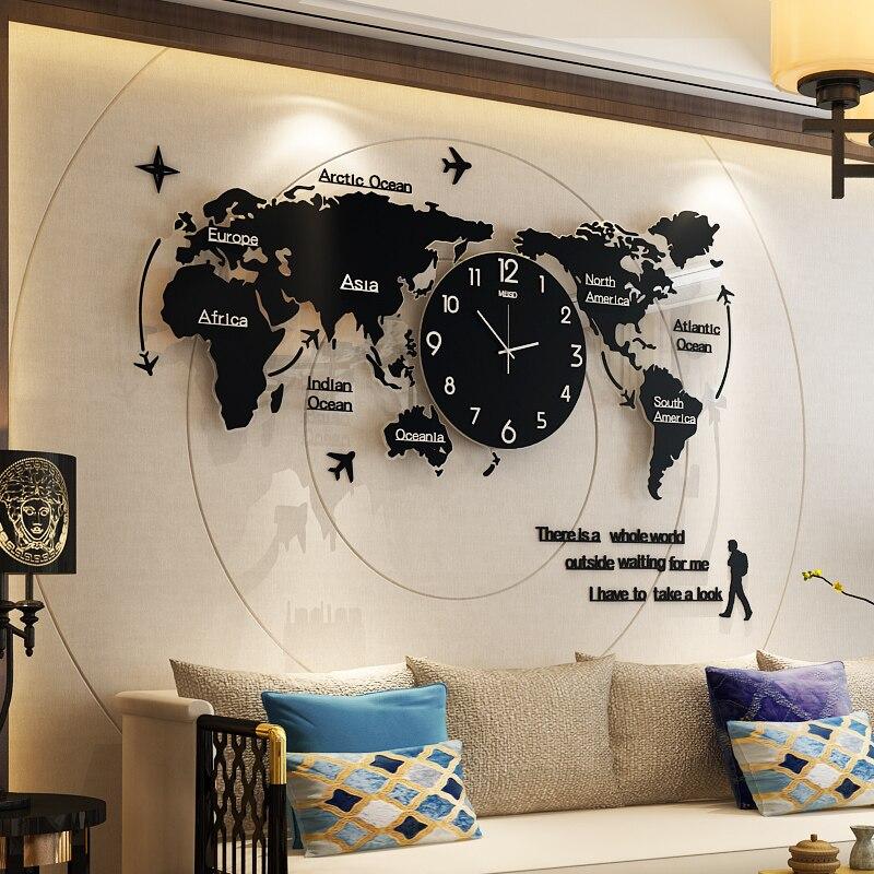 ขนาดใหญ่ Luminova ผนังนาฬิกาออกแบบ 3D ดิจิตอล World Glow in Dark แขวนนาฬิกา Ultra Quiet อะคริลิคฟรีการจัดส่ง-ใน นาฬิกาแขวนผนัง จาก บ้านและสวน บน   1