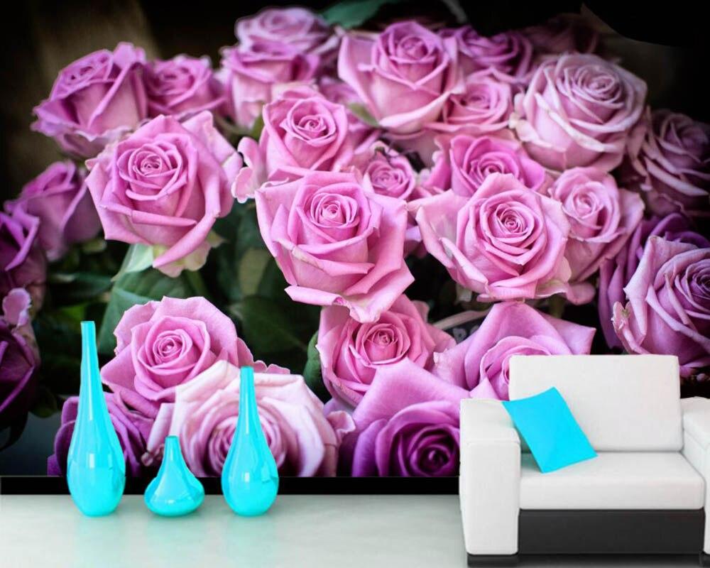 US $11 7 OFF Papel De Parede Mawar Banyak Bunga Warna Merah Muda Foto 3D Wallpaper Mural Ruang Tamu Sofa Televisi Dinding Bedroom Dinding Kertas