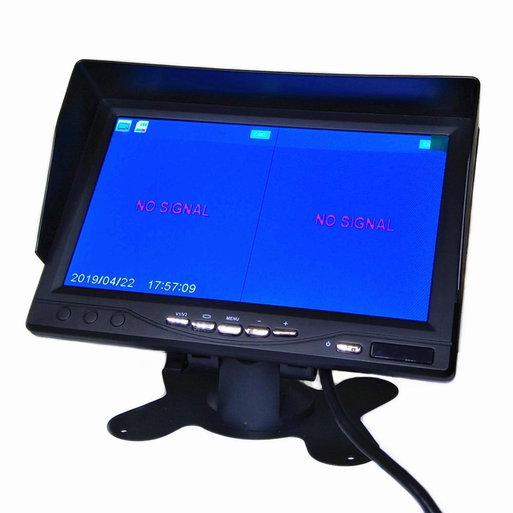 Горячие Новые 7 дюймов ips 2 с разделенным экраном 1024*600 AHD автомобильный монитор Автомобильный видеорегистратор DVR или AHD фронтальная камера/камеры заднего вида по желанию - Цвет: Monitor only