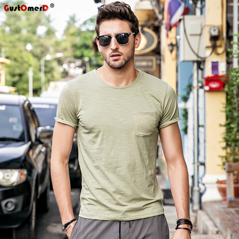 e5d4aaafe4f016 GustOmerD 2018 New Summer T-shirt Men Fashion Pocket Design O-neck Slim Fit  Tshirt Men Casual Quality Cotton Tee Shirts Men in Pakistan