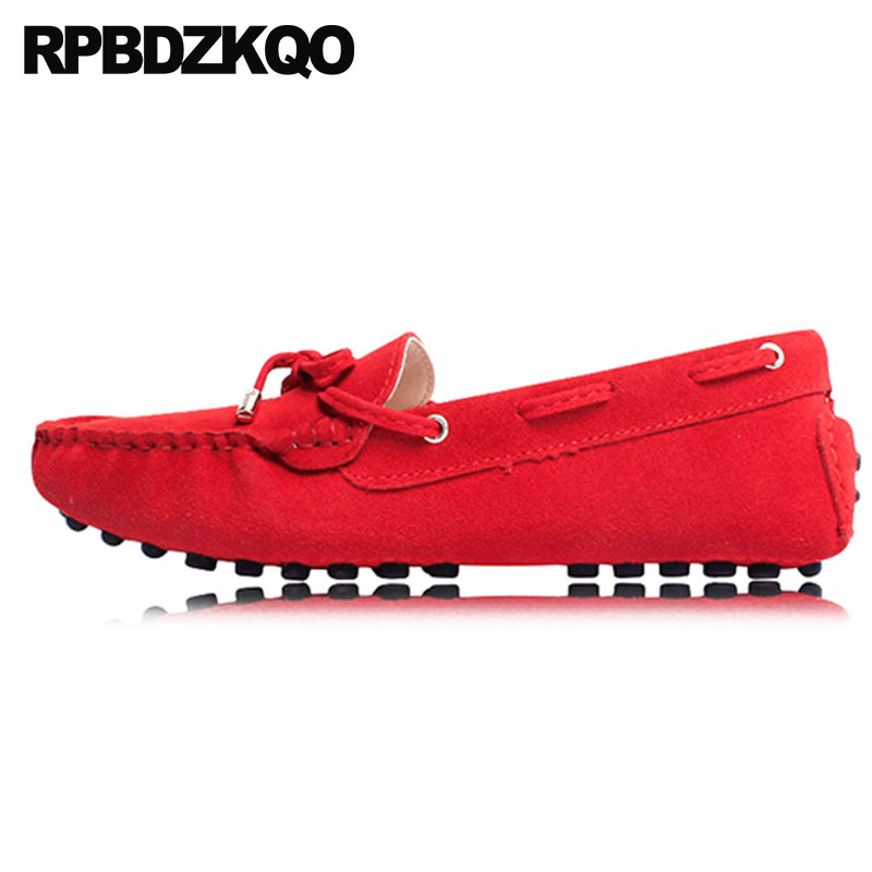 5231df1c3 Mocassins China Vermelho Camurça Amarrar Nó Senhoras Sapatos Rasos  Escorregar Em Arco Roxa Barco Amarelo Sapatos Para Mulheres Com Gatinho  Fofo Mais Recente ...