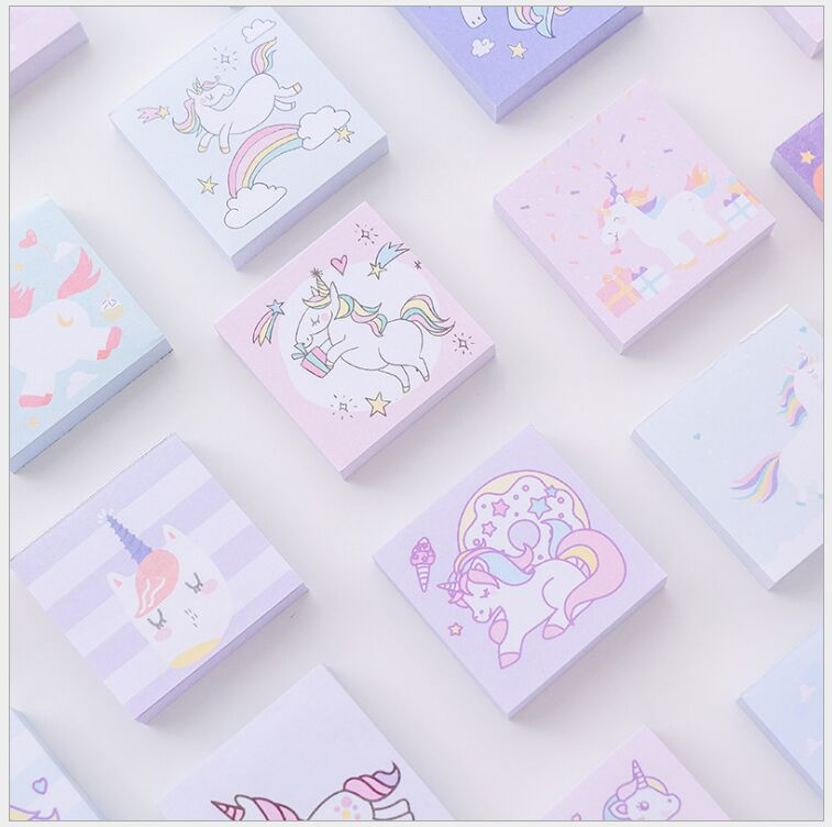 5 Designs/box Rainbow Dreamlike Unicorn Memo Pad Index Sticky Notes pocket mini planner diary message notebook Escolar Papelaria plastic self adhesive sticky notes memo pad notebook category label page index tag post planner stickers office school supply