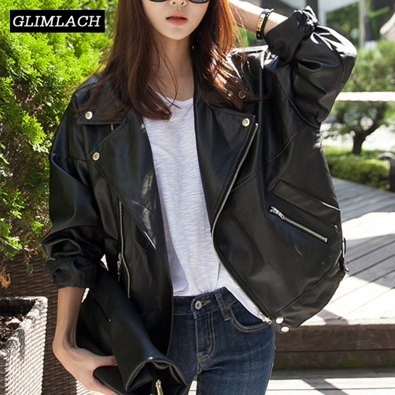 2019 New Women Loose Real Sheepskin Genuine Leather Motorcycle Jacket Coats Office Lady Casual Lapel Leather Jackets Streetwear