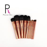 Princess Rose Professional 11pcs Rose Gold Makeup Brushes Set Goat Horse Hair Make Up Brush Pincel